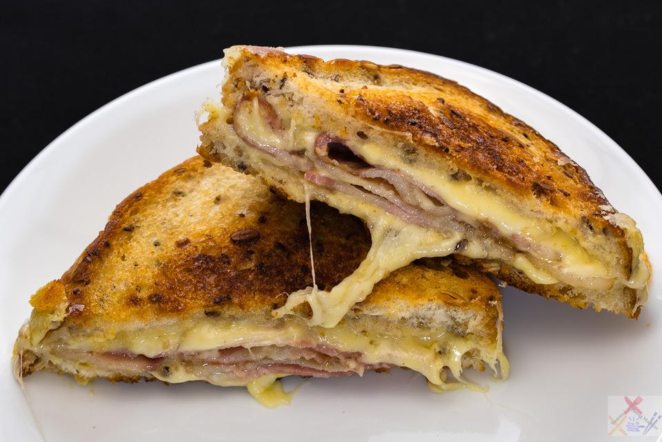 Streaky Bacon, Swiss cheese and Dijon mustard grilled toastie. Gary Lum