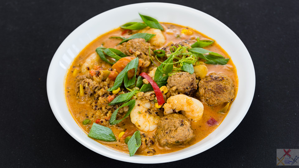 Red curry prawns with pork beef meatballs with red quinoa and brown rice in coconut cream Gary Lum