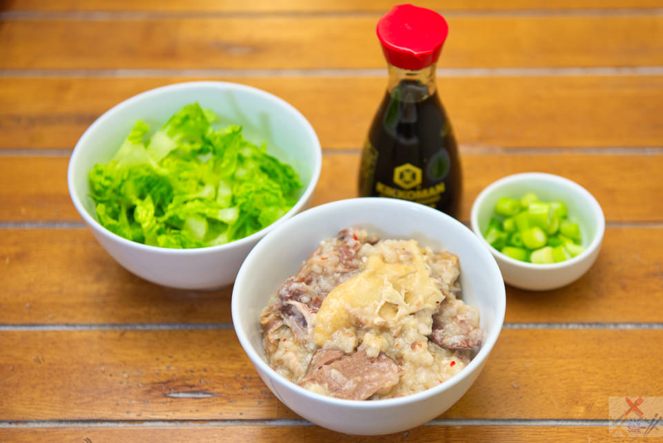 super simple beef and chicken congee in a slow cooker