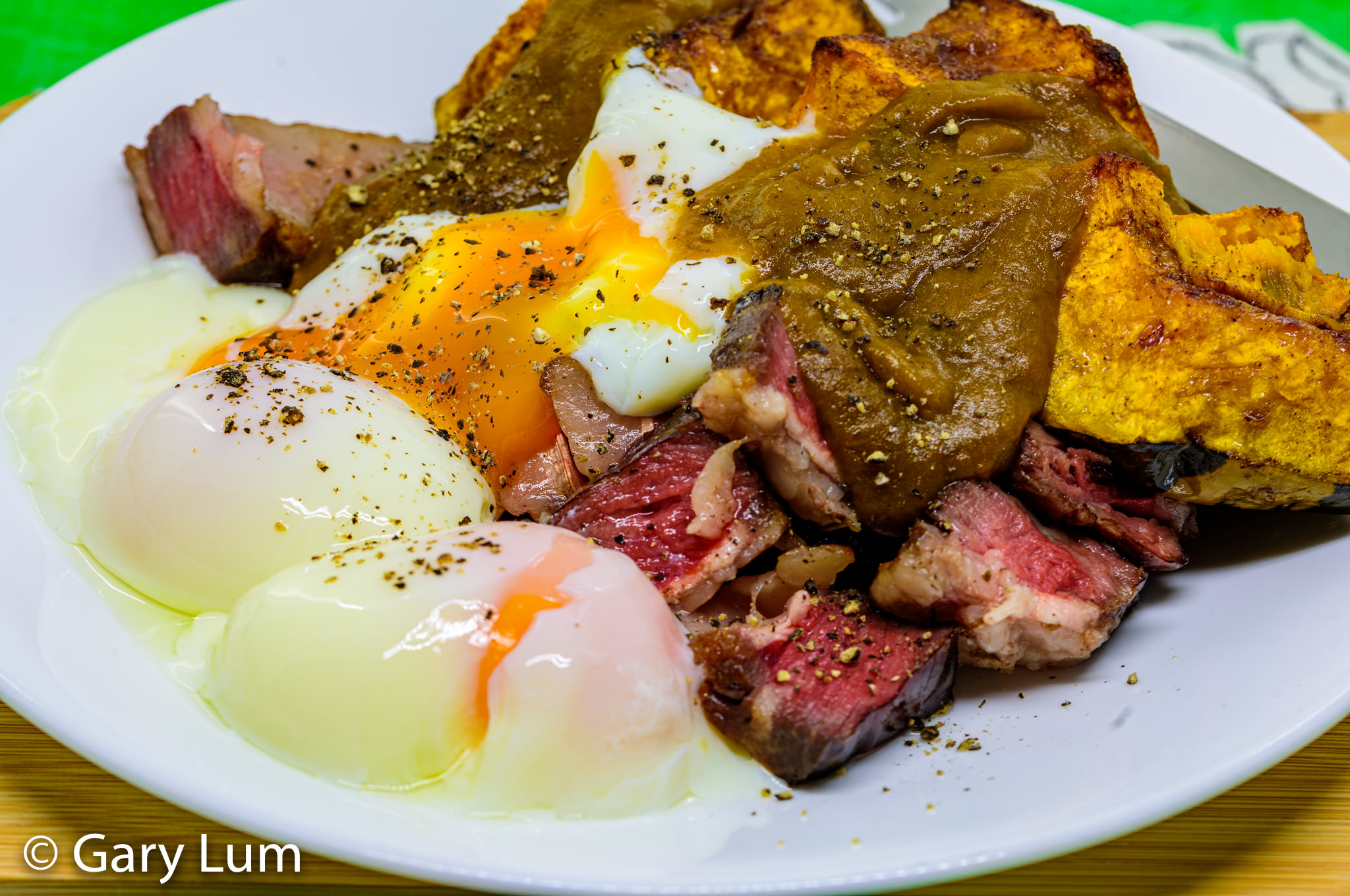 Sous vide 63 °C egg, reverse sear steak, and roast pumpkin