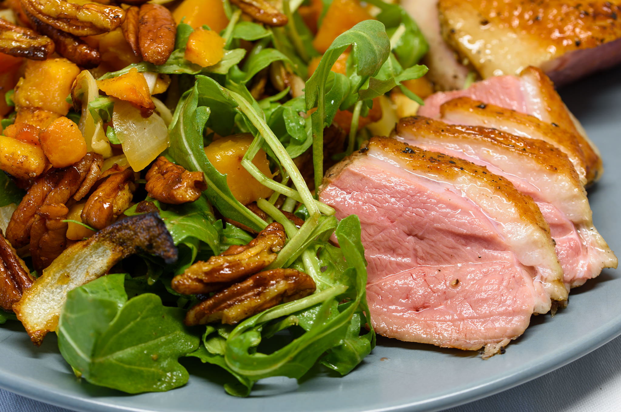 Roast pumpkin, spiced pecans and duck breast