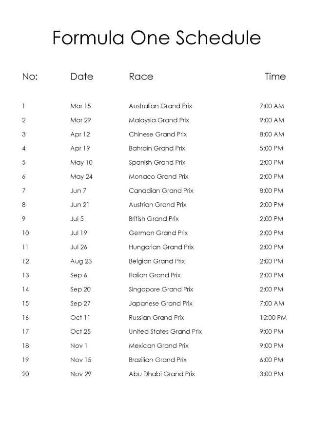 Formula One Schedule