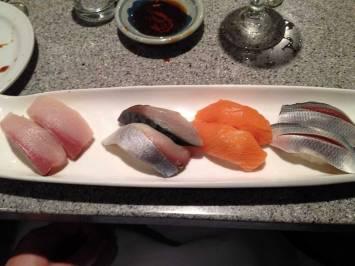 Hamachi (Yellowtail), Saba (Mackerel), Sake (Salmon), Kohada (Gizzard Shad)