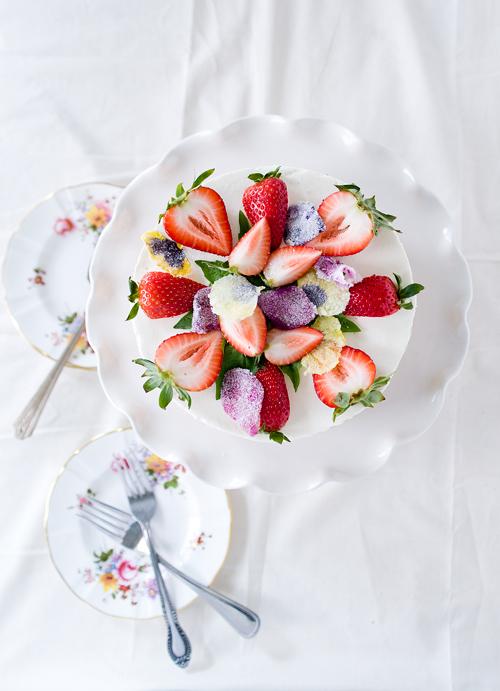 Strawberry Basil Cake with Vanilla Cream
