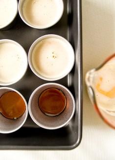 Caramel on the bottom with liquid custard.