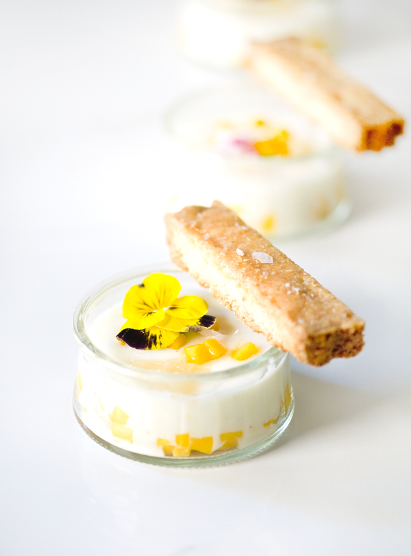 Mango Kefir Panna Cotta with Coconut Shortbread