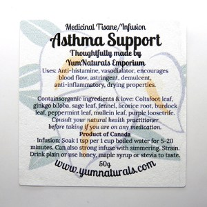 Yum Naturals Emporium - Bringing the Wisdom of Nature to Life - Asthma Support Medicinal Tisane