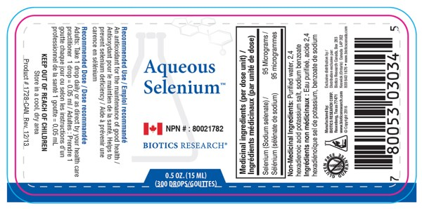 Yum Naturals Emporium - Bringing the Wisdom of Nature to Life - Biotics Aqueous Selenium Label