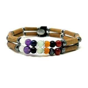 YumNaturals Emporium - Bringing the Wisdom of Mother Nature to Life - Hazel Wood Double Bracelet with Chakra Stones_1