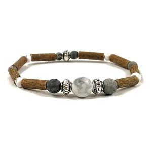YumNaturals Emporium - Bringing the Wisdom of Mother Nature to Life - Hazelwood Picasso Jasper White Howlite Single Bracelet Large Bead 1