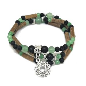 YumNaturals Emporium - Bringing the Wisdom of Mother Nature to Life - Hazelwood Lava Stone Diffuser Green Aventurine 2-in-1 Heart Chakra 1
