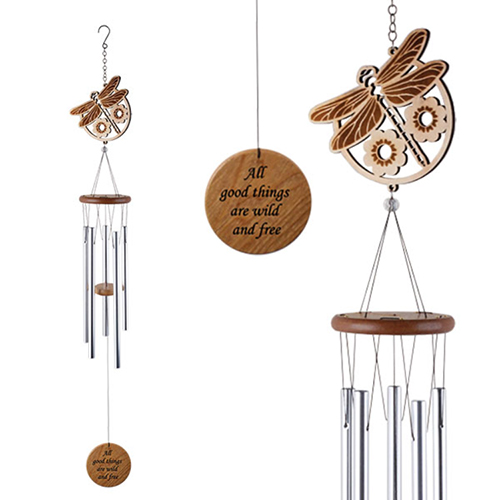 YumNaturals Emporium - Bringing the Wisdom of Nature to Life - Laser Cut Wood Wind Chime Dragonfly