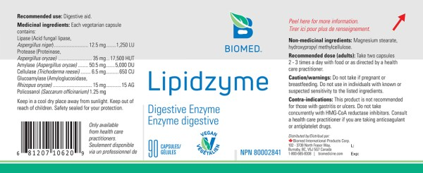 YumNaturals Emporium - Bringing the Wisdom of Nature to Life - Biomed Lipidzyme Label