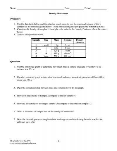 Density Worksheet Answer Key : density, worksheet, answer, Density, Worksheet, Science, Teacher