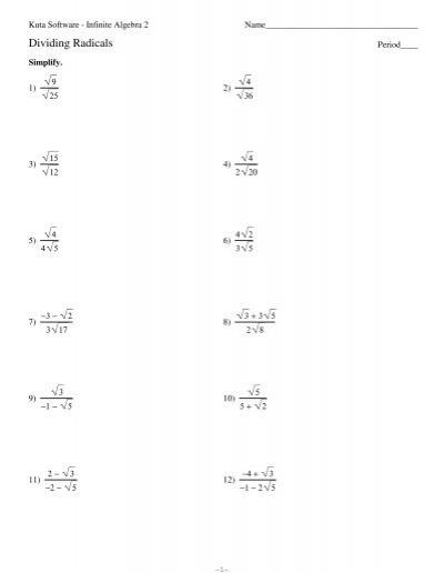 Dividing Radicals Worksheet : dividing, radicals, worksheet, Dividing, Radicals.pdf, Software
