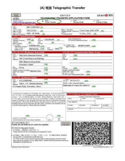 Dbs Bank Code Hong Kong : Telegraphic, Transfer
