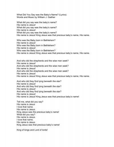 Baby Jesus Baby Jesus I Love You Lyrics : jesus, lyrics, Baby's, Name?, (Lyrics, PraiseGathering