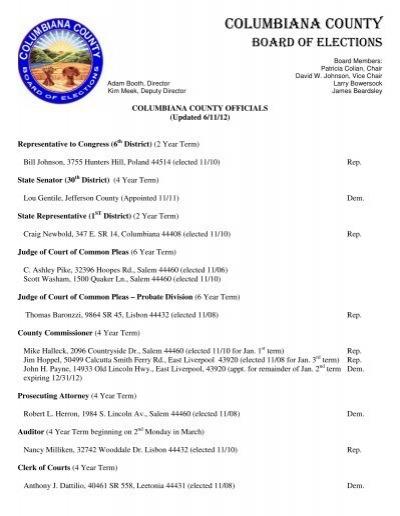 Columbiana County Auditor : columbiana, county, auditor, Columbiana, County, Elected, Officials