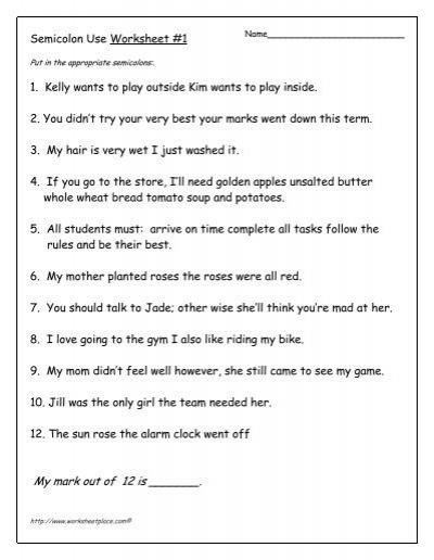 Semicolon Use Worksheet #1