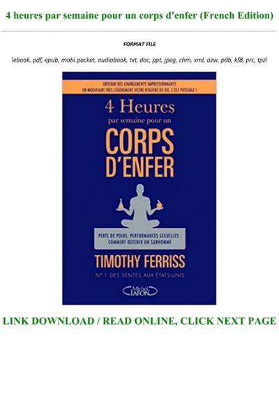 4 Heures Par Semaine Pour Un Corps D'enfer Pdf : heures, semaine, corps, d'enfer, Download, [ebook], Heures, Semaine, Corps, D'enfer, (French, Edition)