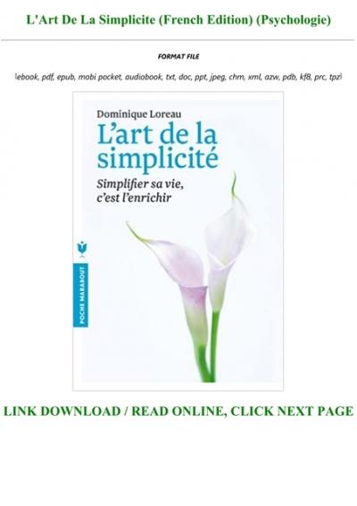 L'art De La Simplicité Pdf : l'art, simplicité, READ], L'Art, Simplicite, (French, Edition), (Psychologie), TXT,PDF,EPUB