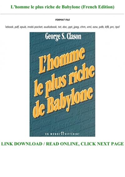 L'homme Le Plus Riche De Babylone : l'homme, riche, babylone, Ebook]^^, L'homme, Riche, Babylone