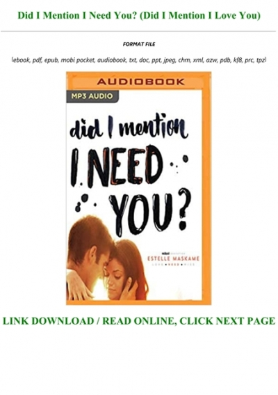 Did I Mention I Need You Pdf : mention, DOWNLOAD, [PDF], Mention, Full-Acces