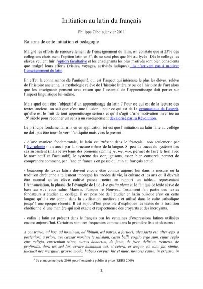 Rheteur Latin Qui Inspira Pascal : rheteur, latin, inspira, pascal, Initiation, Latin, Français, Personnel, Philippe, Cibois