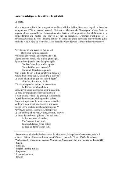Perrette Et Le Pot Au Lait Texte : perrette, texte, Lecture, Analytique, Laitière, Lait., Texte.
