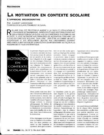 La Motivation En Contexte Scolaire : motivation, contexte, scolaire, Motivation, Contexte, Scolaire,, Laurent, Lamontagne,, Traces