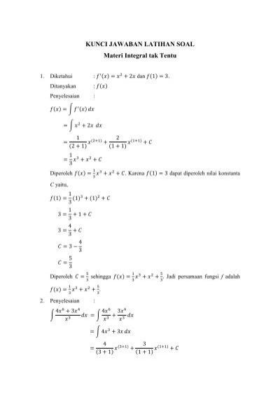 Soal Integral Tak Tentu : integral, tentu, Kunci, Jawaban, Latihan, Integral, Tentu