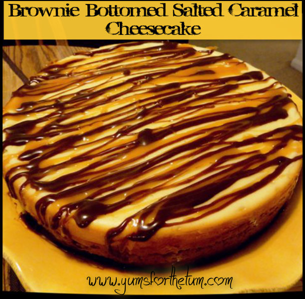 Brownie-Bottomed Salted Caramel Cheesecake