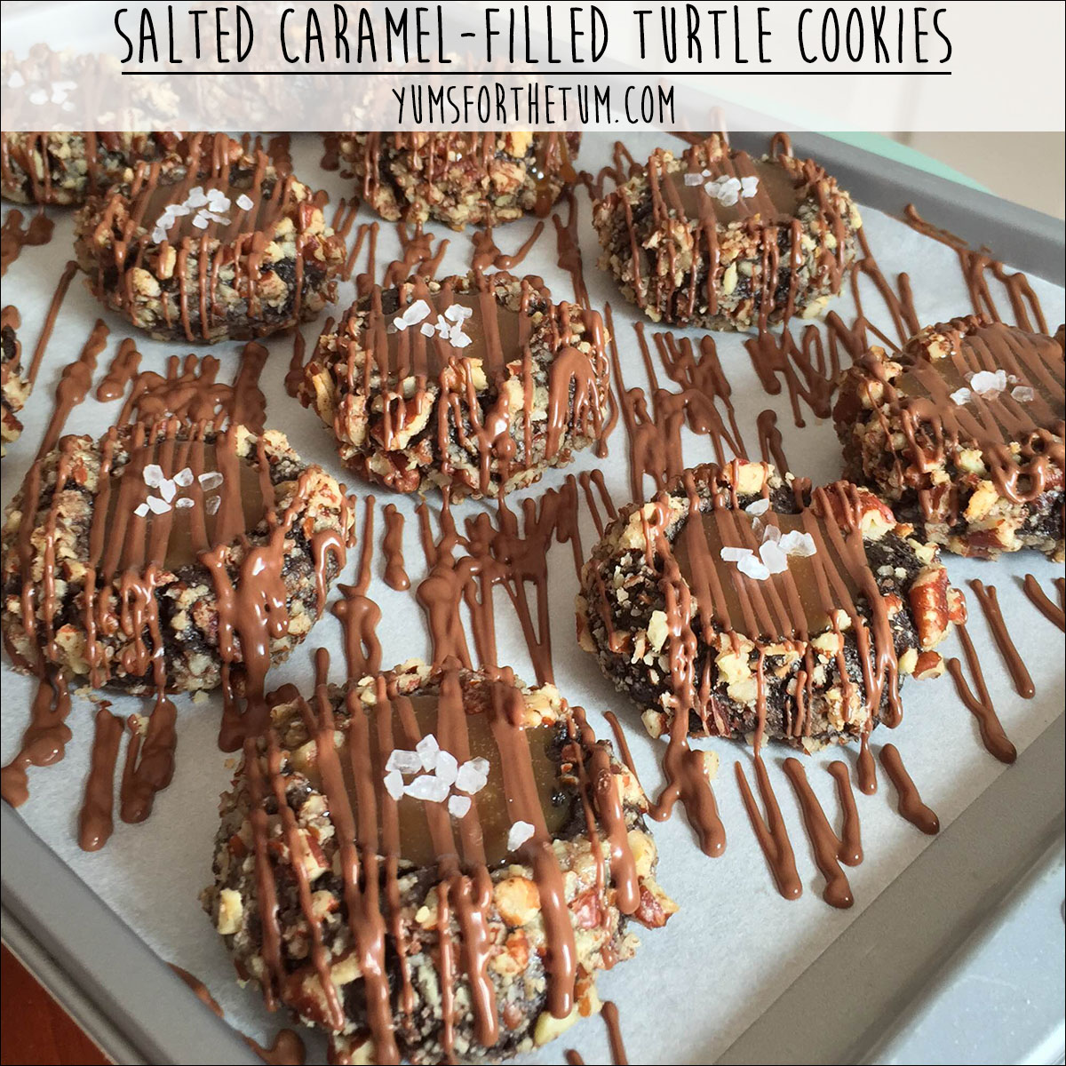 Salted Caramel-Filled Turtle Cookies