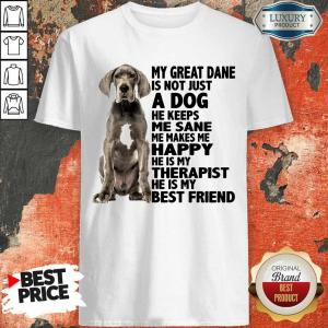 My Great Dane Is Not Just A Dog He Keeps Me Sane Me Makes Me Happy He Is My Therapist He Is My Best Friend Shirt