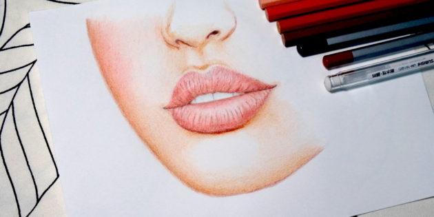 [色鉛筆教學]用色鉛筆畫嘴唇與皮膚 — YuNikDraw