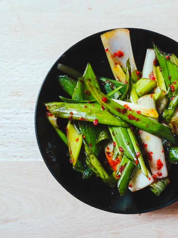 Recette de poireau mariné coréen, le Pajeoli