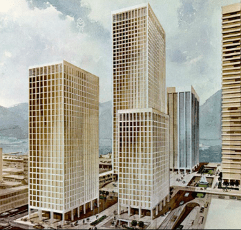 Another colour rendering of Vancouver's unrealized Project 200 (uncovered by Bob Ripponat the Vancouver Planning Department),