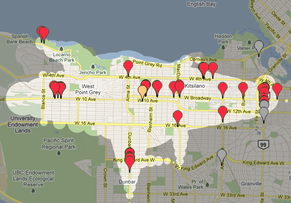 A Mapnificent screenshot of the Kitsilano neighborhood in Vancouver showing banks near my location