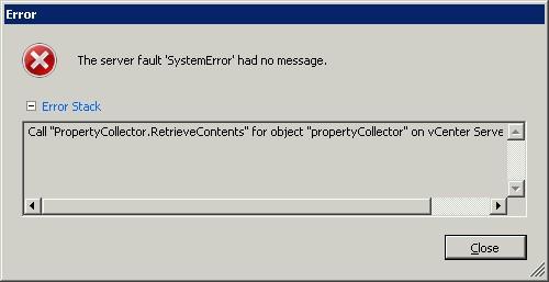 VMware vCenter Error Call