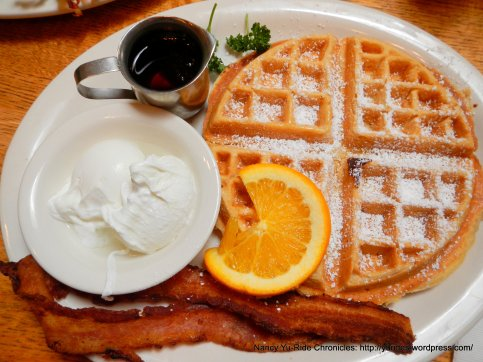 waffle, bacon & poached eggs