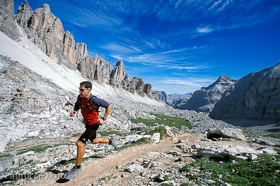 Dean Karnazes trail running in the Italian Dolomites