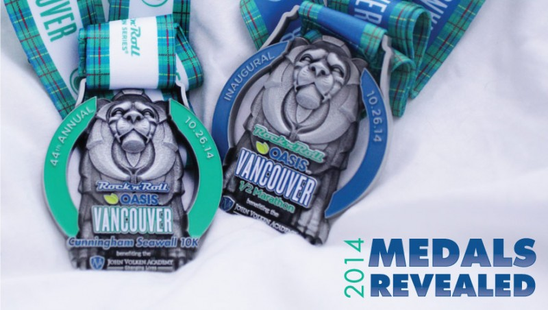 The Rock 'N Roll Vancouver 2014 Finisher medals