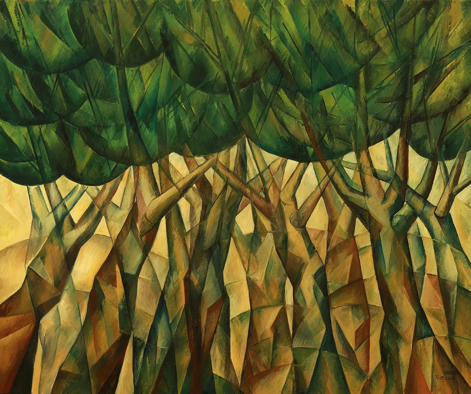 "Dancing Trees Original oil on canvas by Yuro 60"" x 82"" inches."