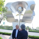 yuroz chatting in front of eternity installation in china