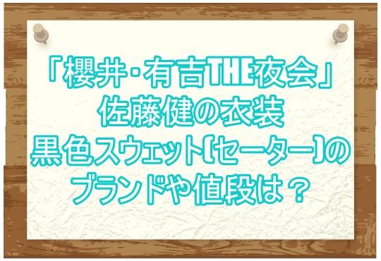 「櫻井・有吉THE夜会」佐藤健の衣装黒色スウェット(セーター)のブランドや値段は?2