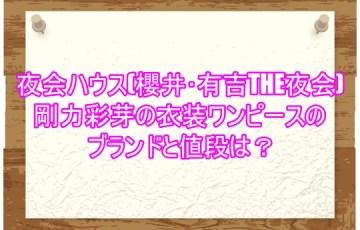 夜会ハウス(櫻井・有吉THE夜会)剛力彩芽の衣装ワンピースのブランドと値段は?3