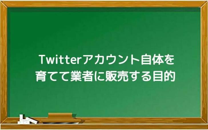 Twitterアカウント自体を育てて業者に販売する目的