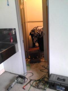 解体中トイレは狭いのでどこまでもひとり作業