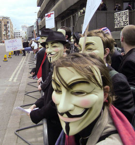 London April 12, 2008. The group Anonymous protested the Church of Scientology in response to the Church forcing YouTube to pull a video of Tom Cruise discussing Scientology that was meant for internal use within the Church