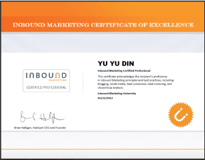 Yu Yu Din Inbound Marketing-Hubspot Certificate